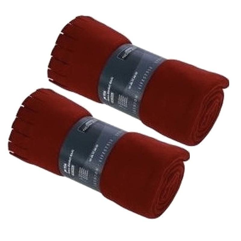 2x Fleece dekens-plaids met franjes rood 130 x 170 cm