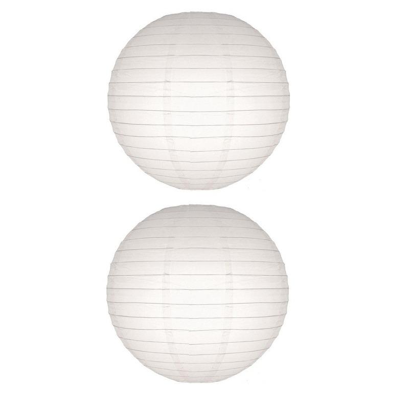 Feestartikelen diversen Geen 2x Lampion 50 cm wit