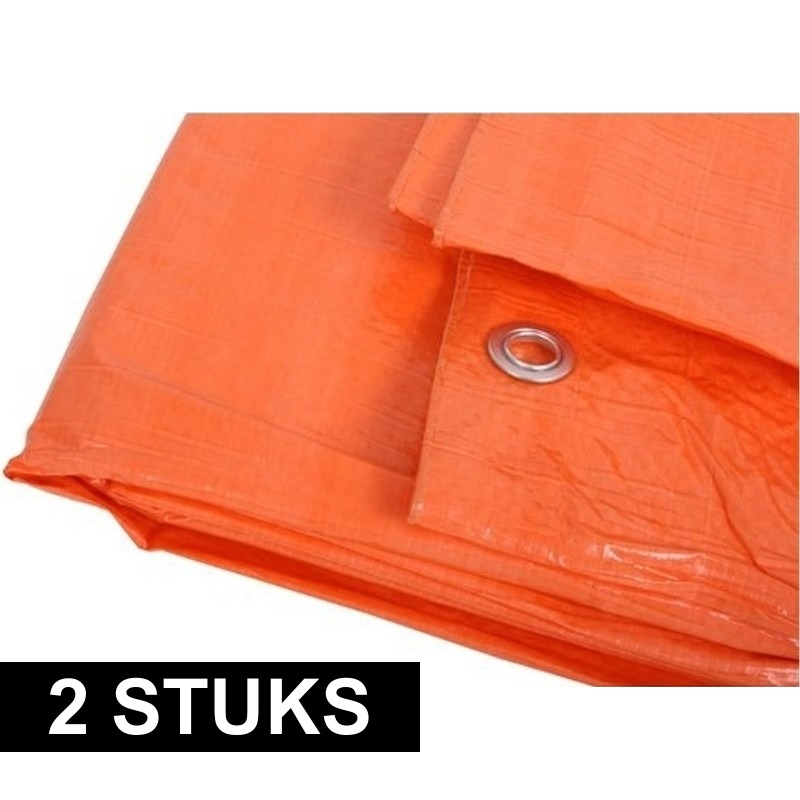 2x Oranje afdekzeilen-dekzeilen 6 x 10 meter