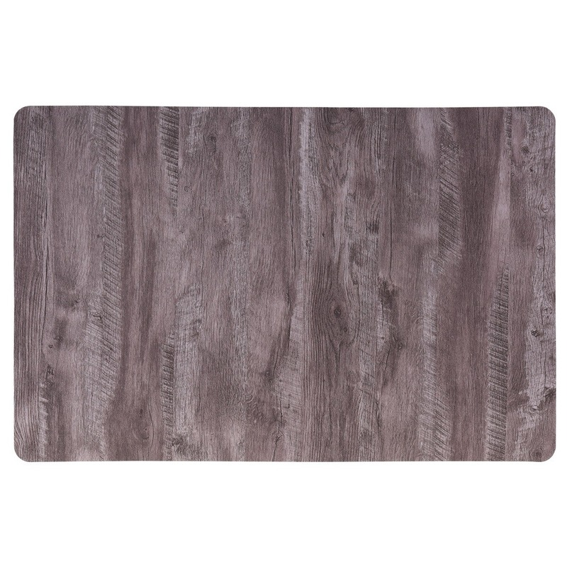 2x Placemat donkerbruin hout print 44 cm