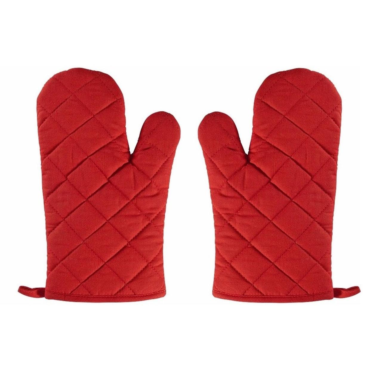 2x Rode ovenwanten-ovenhandschoenen keukentextiel