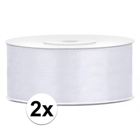2x rollen satijn sierlint wit 25 mm