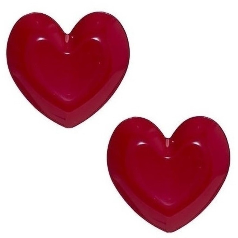2x Rood hart plastic borden-schalen 25 cm