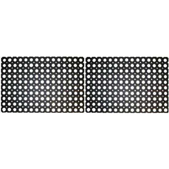 2x Rubberen deurmat-buitenmat 60 x 40 cm