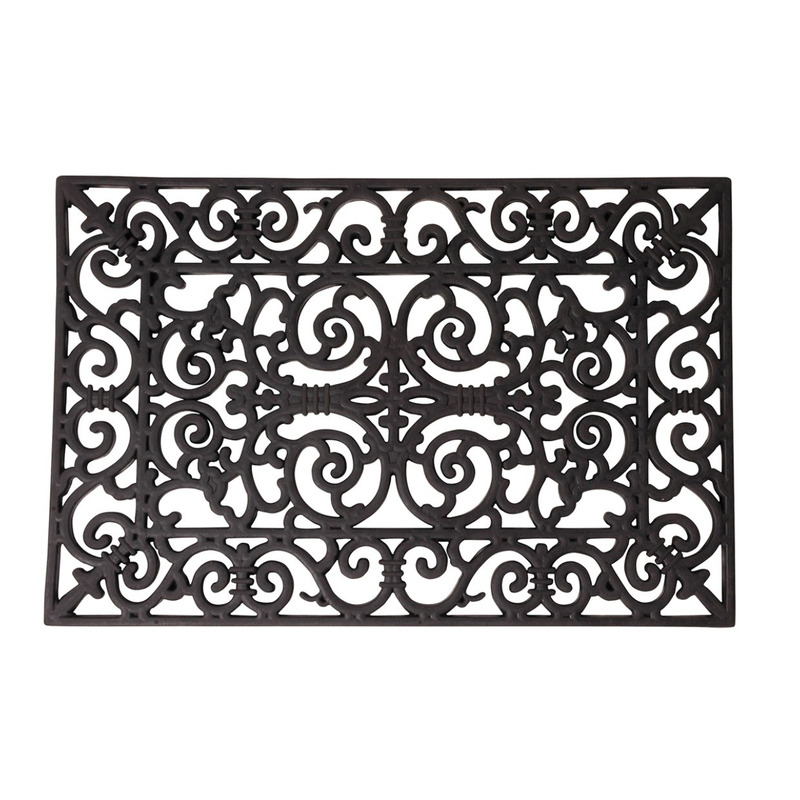 2x Rubberen deurmatten klassiek patroon 60 x 40 cm