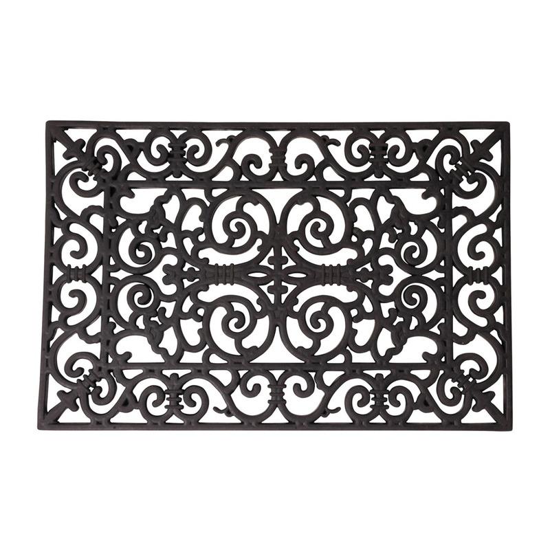 2x Rubberen deurmatten klassiek patroon 70 x 40 cm