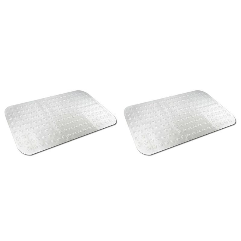 2x Transparante antislip badmat-douchemat 79 x 37 cm