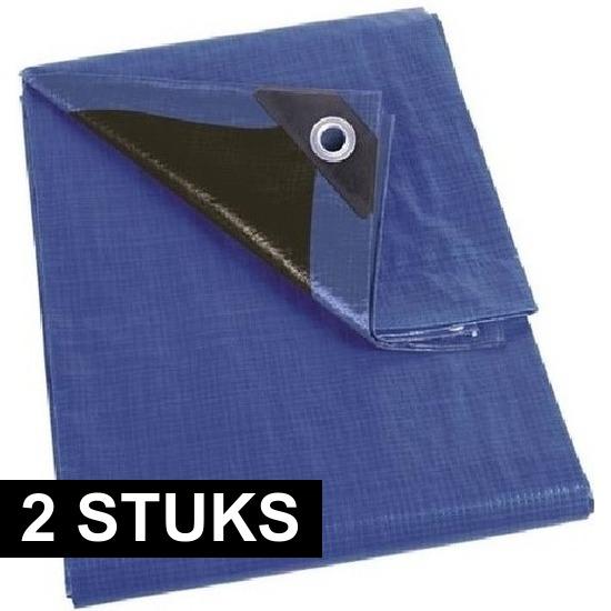 2x Waterdicht dekzeil-afdekzeil extra sterk blauw-zwart 2 x 3 m