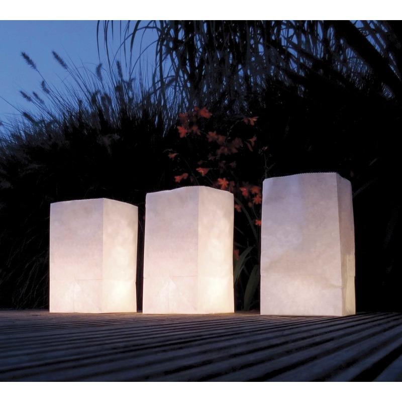 Feestartikelen diversen 30x Candle Bags wit 26 cm