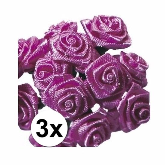 36 Decoratie rozen donker roze 12 cm