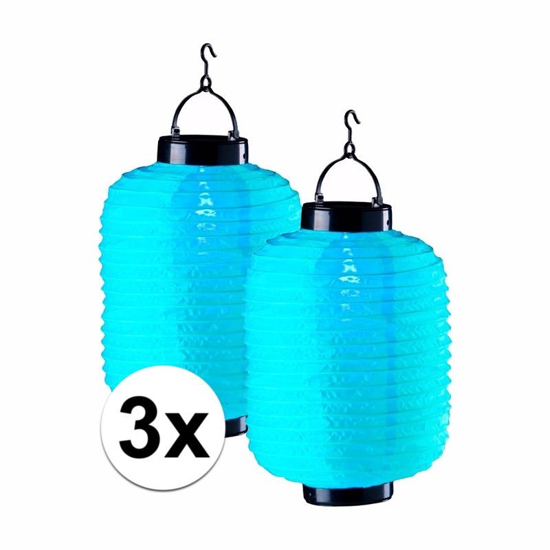 3x blauwe solar lampionnen 35 cm