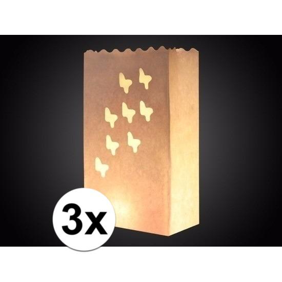 Geen 3x Candle bag vlinder print 26 cm Feestartikelen diversen