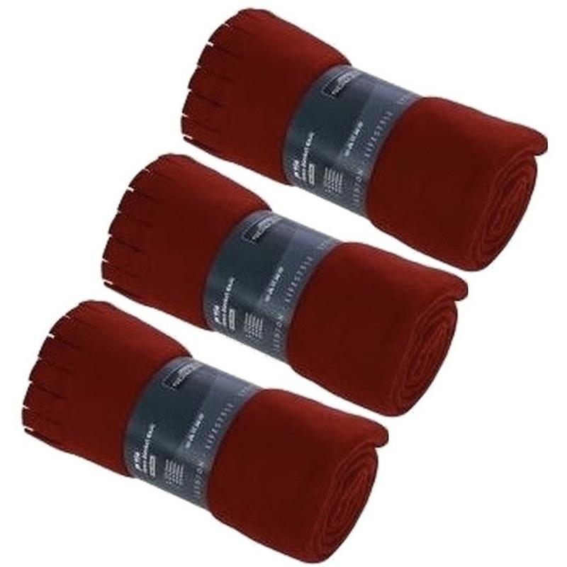 3x Fleece dekens-plaids met franjes rood 130 x 170 cm