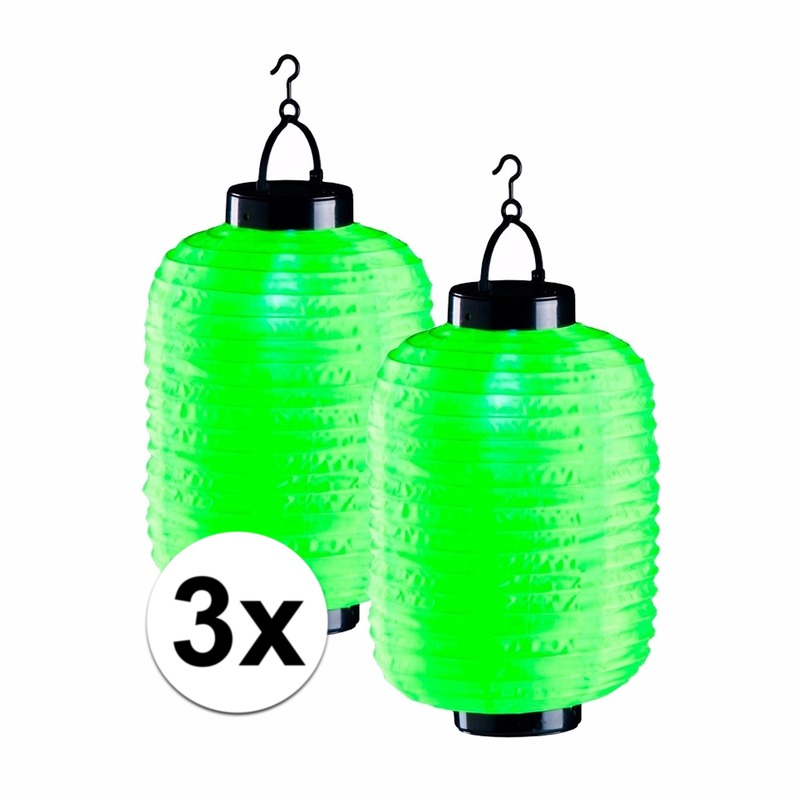 Tuin artikelen Geen 3x groene solar lampionnen 35 cm