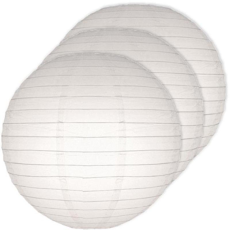 Feestartikelen diversen Geen 3x Lampionnen 25 cm wit