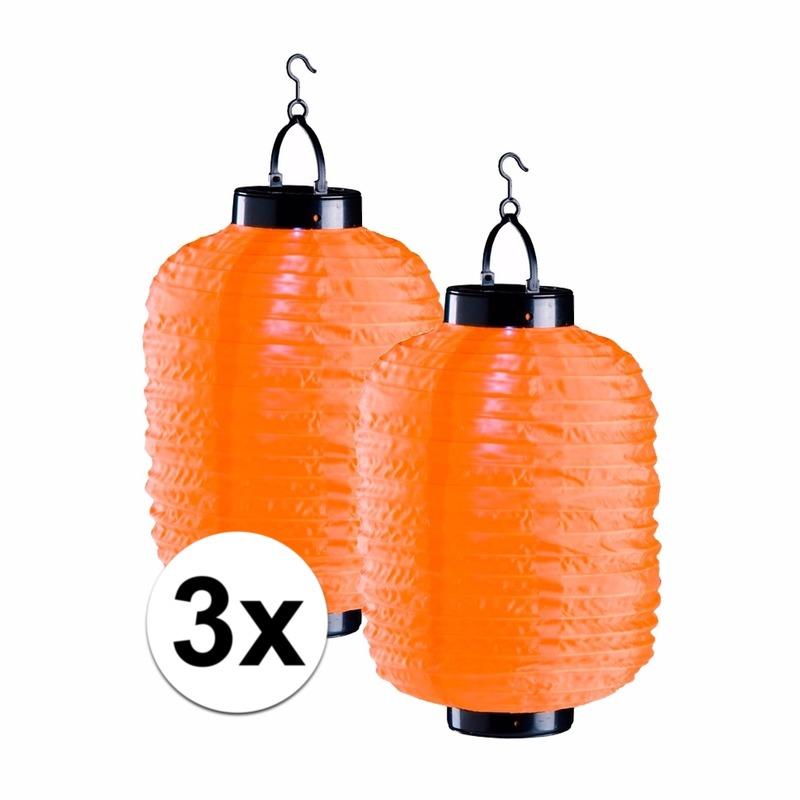Tuin artikelen Geen 3x oranje solar lampionnen 35 cm