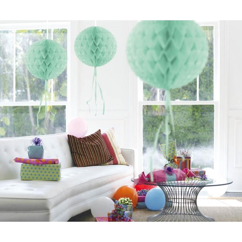 3x stuks Decoratie bollen mint groen 30 cm Geen Kleuren versiering