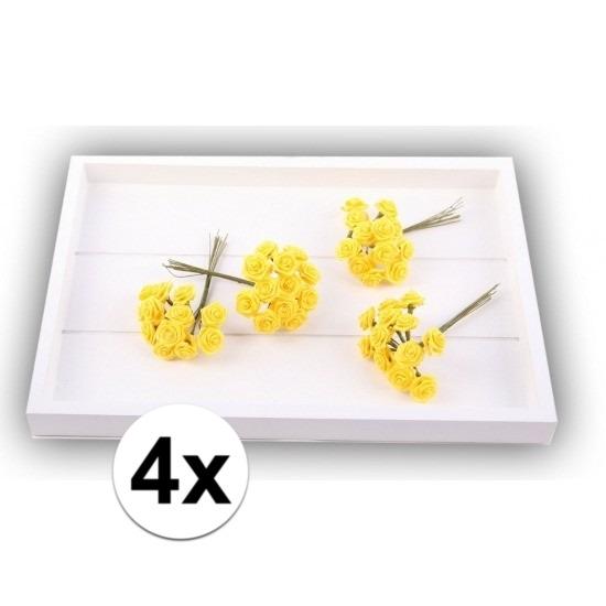 48 Decoratie rozen geel 12 cm