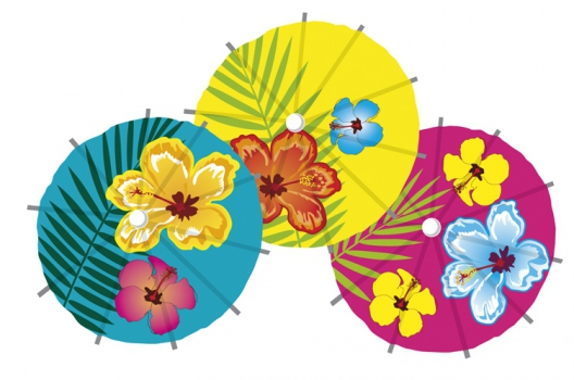 48x stuks Cocktail-IJsjes parasols prikkers Hawaii print