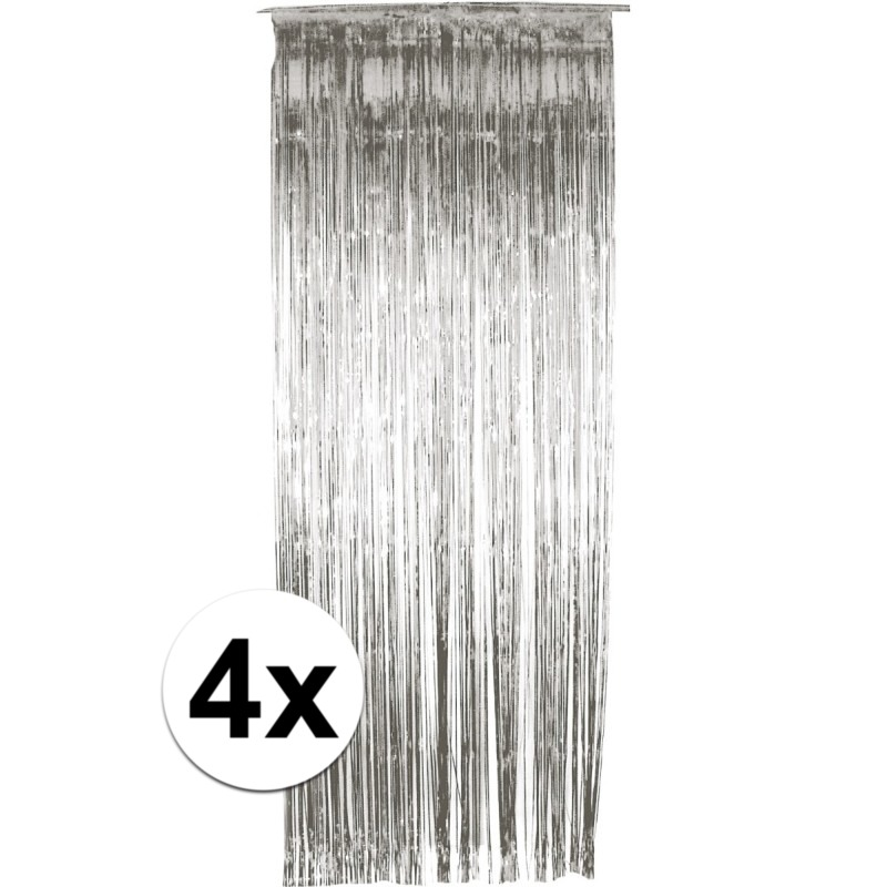 Kleuren versiering Geen 4x folie gordijn in het zilver