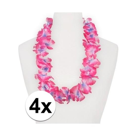 Hawaii feestartikelen 4x Hawaii kransen roze paars