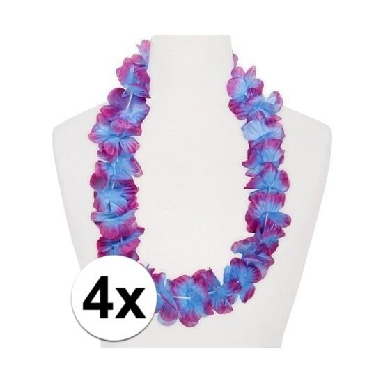 4x Hawaii slinger paars blauw Geen Hawaii feestartikelen