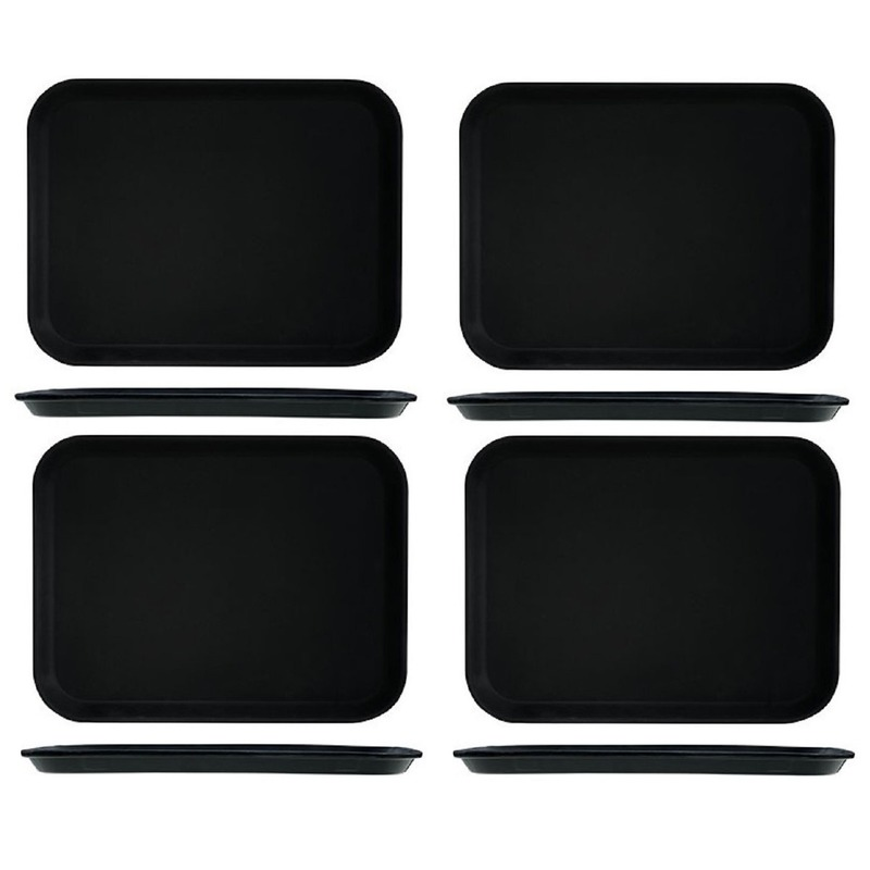 4x Kunststof dienblad met antislip 30 x 41 cm