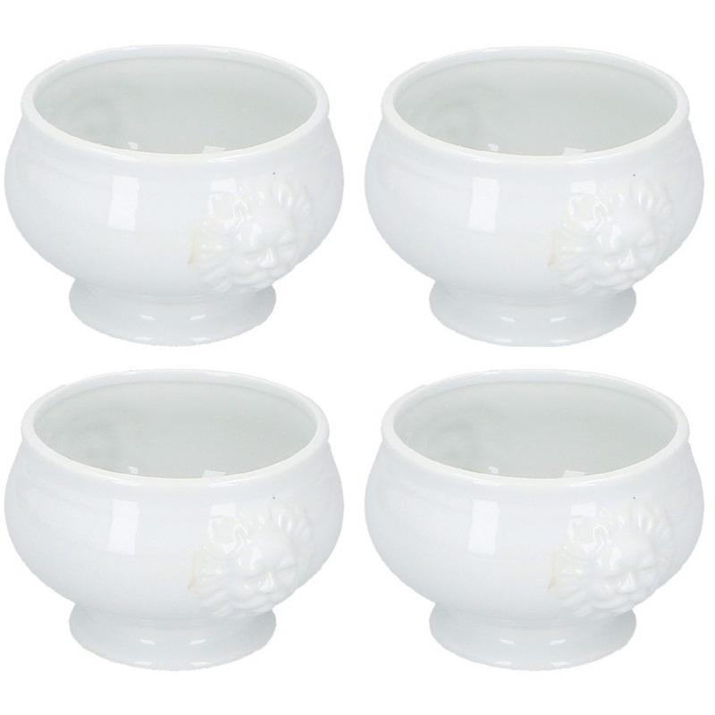 4x Noodle bowl-soep kommen wit porselein 14 cm