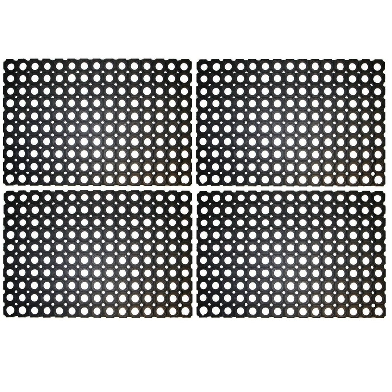 4x Rubberen deurmat-buitenmat 60 x 40 cm