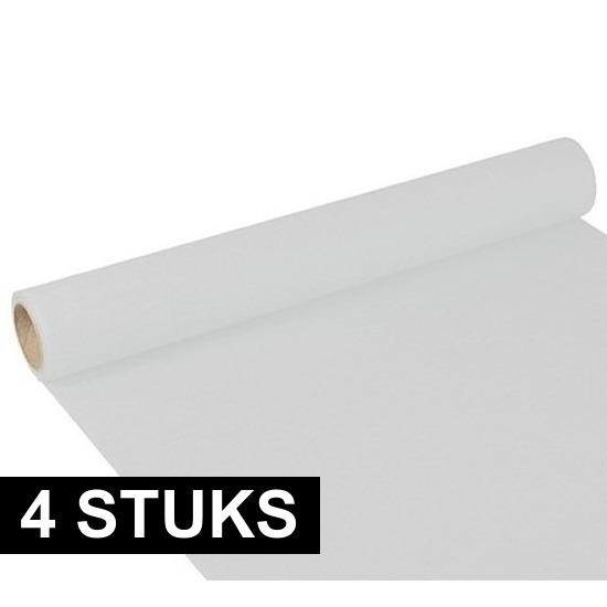 4x Tafelloper wit 300 x 40 cm papier