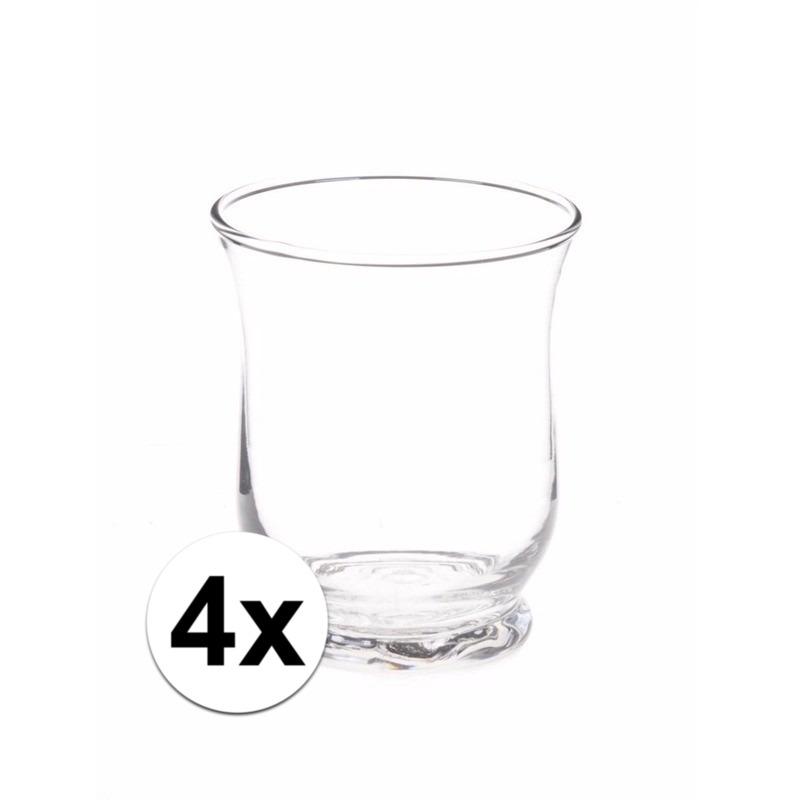 4x Theelichthouders transparant 11 cm Geen te koop