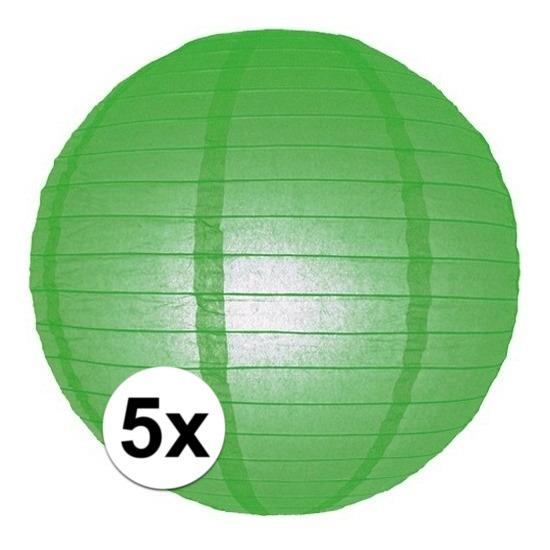 Feestartikelen diversen Geen 5x Lampionnen 25 cm groen