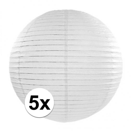 5x Lampionnen van 35 cm in het wit Geen Feestartikelen diversen