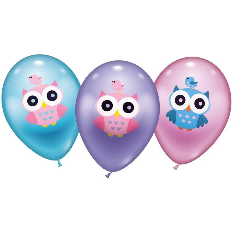 Feestartikelen diversen Geen 6 Uilen ballonnen 28 cm