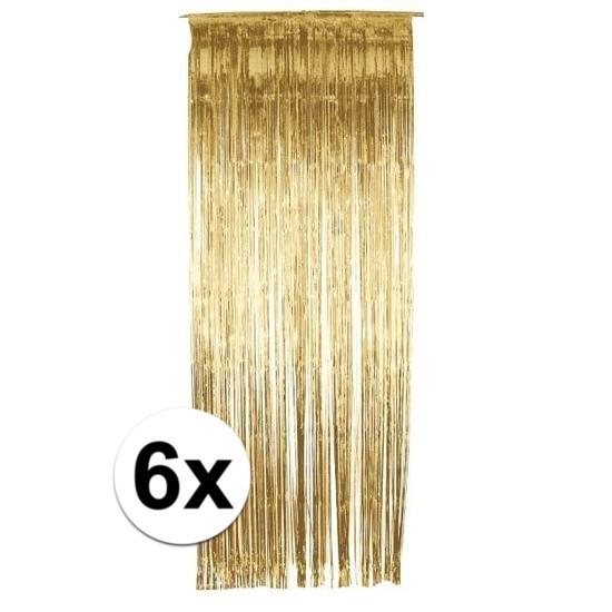 Kleuren versiering Geen 6x folie gordijn in het goud