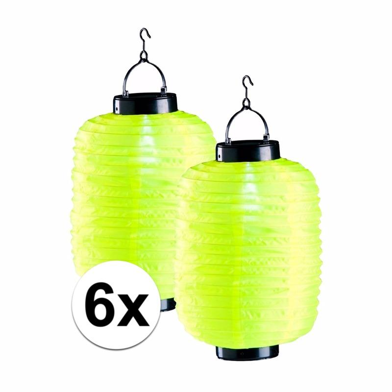 Geen 6x gele solar lampion 35 cm Tuin artikelen