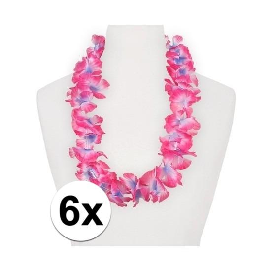 Geen 6x Hawaii kransen roze paars Hawaii feestartikelen