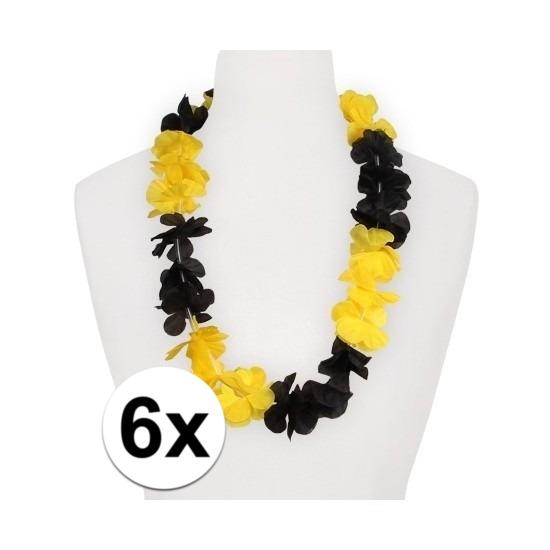Hawaii feestartikelen 6x Hawaii slinger geel zwart