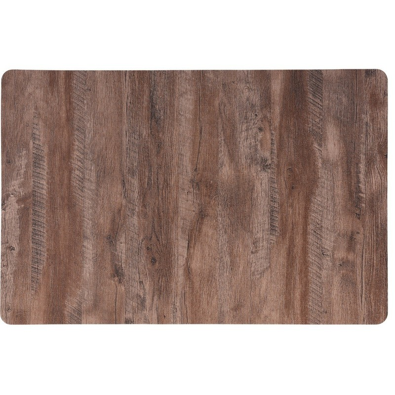 6x Placemat lichtbruin hout print 44 cm