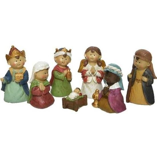 7x Kinder kerststal figuren-beelden
