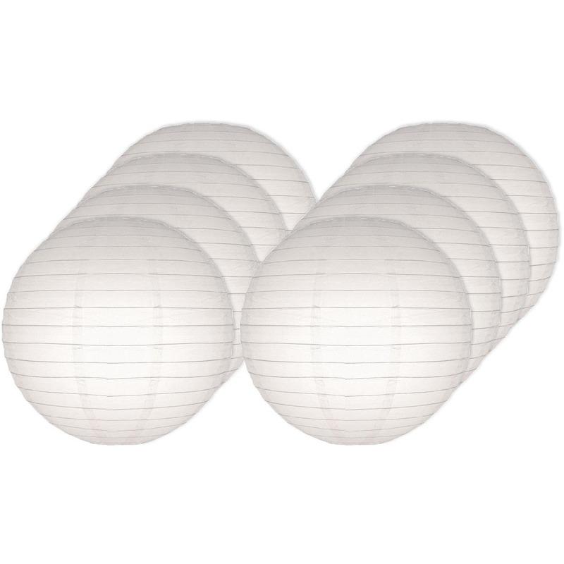 Feestartikelen diversen Geen 8x Lampionnen 25 cm wit