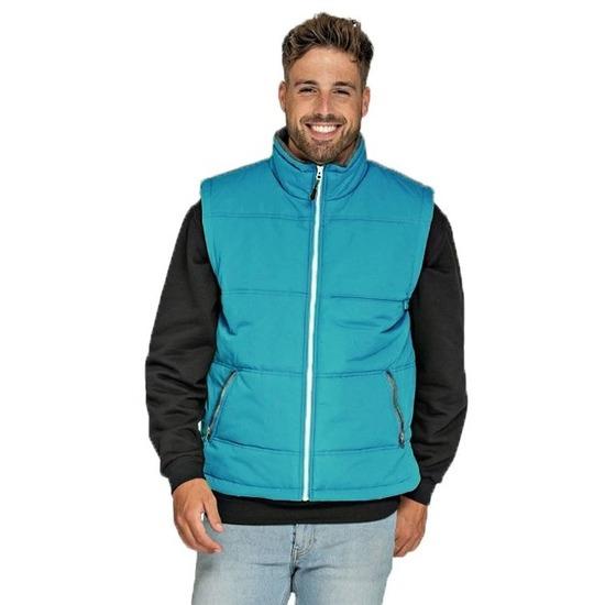 Basic bodywarmer turquoise voor heren