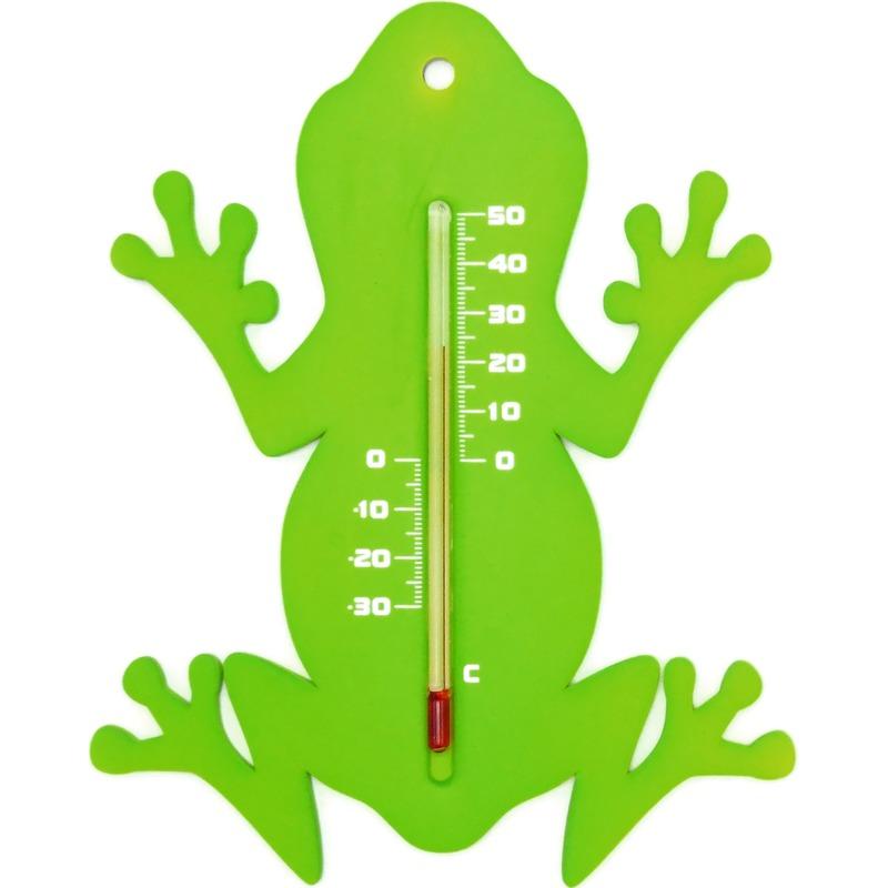 Binnen-buiten thermometer groene kikker 15 cm