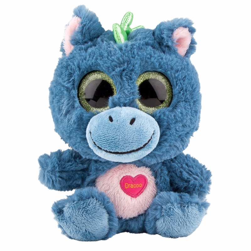 Blauw dino knuffeltje met muziek 18 cm
