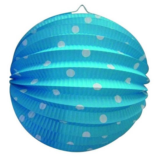 Blauw gekleurde feest lampion met witte stippen Geen Feestartikelen diversen
