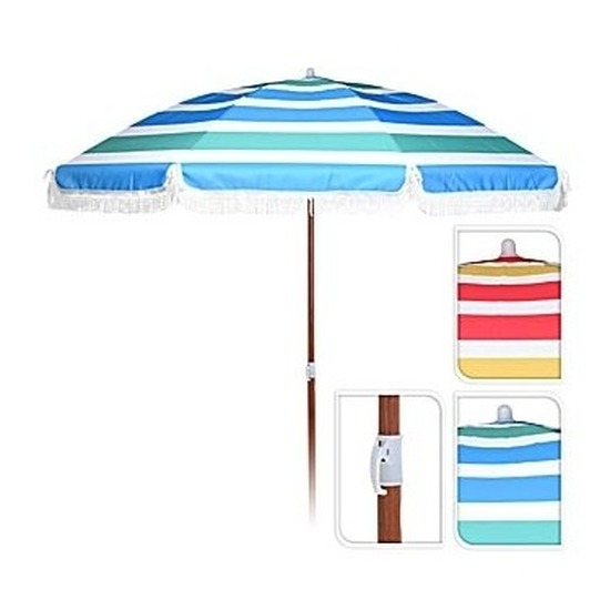 Blauw-groen-witte parasol 180 cm