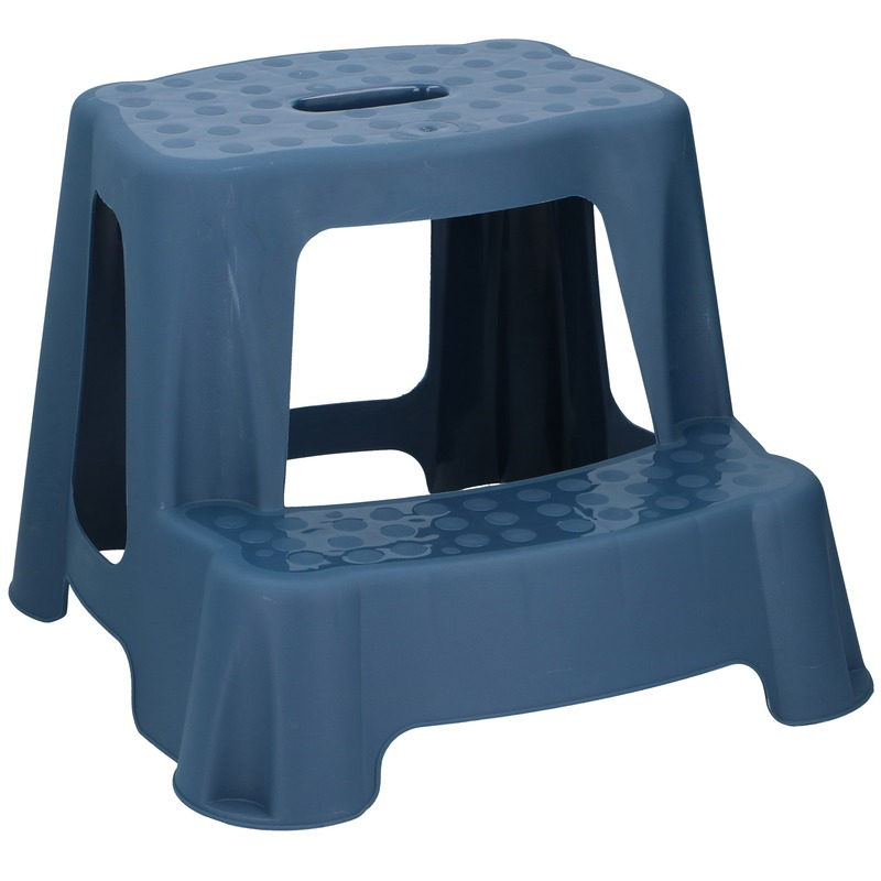 Blauw kinderkrukje-opstapje met 2 treden 35 cm