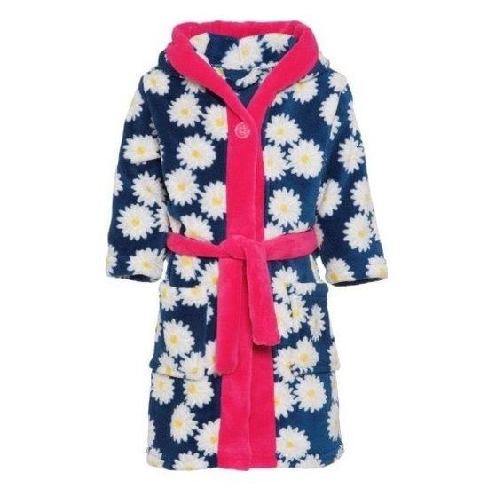 Blauw-roze badjas-ochtendjas margriet bloemenprint voor kinderen