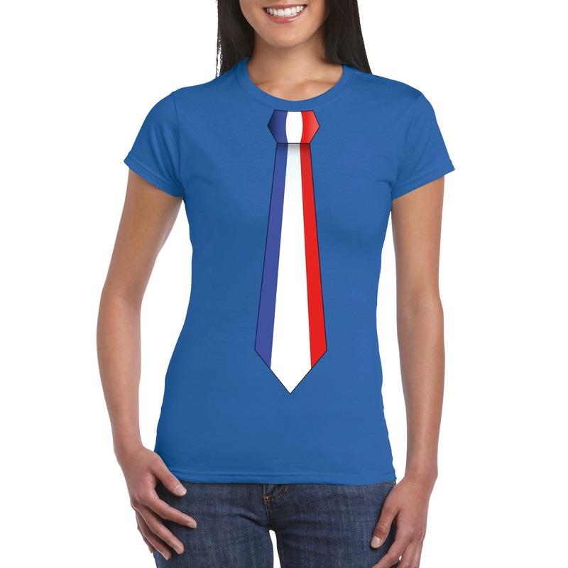 Blauw t-shirt met Frankrijk vlag stropdas dames