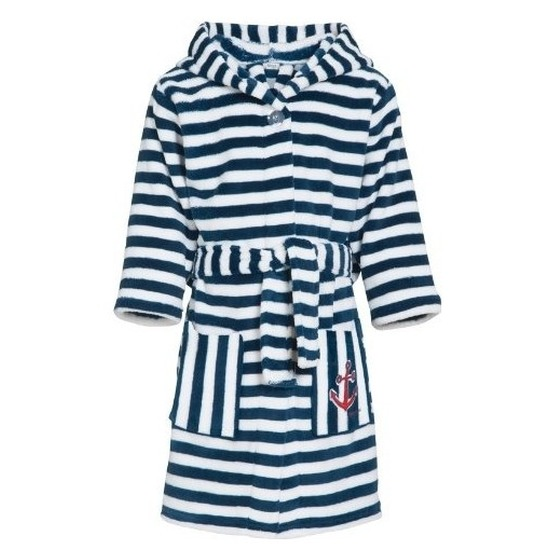Blauw-witte badjas-ochtendjas met strepen voor kinderen